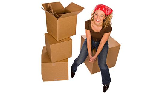 student storage, uk, girl, boxes, moving