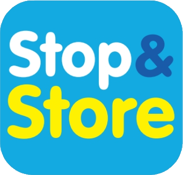 logo, stop and store, storage