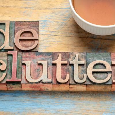 cut out letters spelling declutter