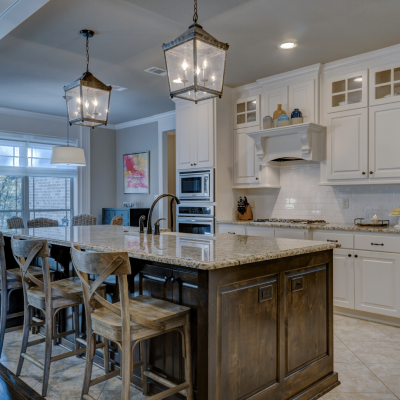 kitchen with breakfast bar and marble top
