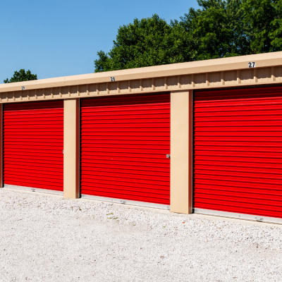 Outside self storage units red doors